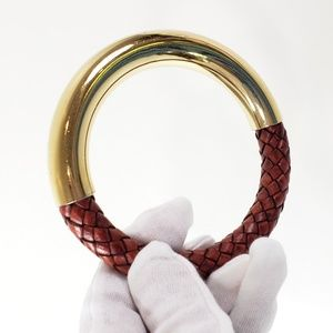 Italian Bangle Bracelet Woven Leather + Gold